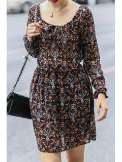 Full Floral Print Chiffon Dress - Brown M