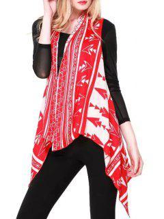 Sleeveless Jacquard Asymmetric Cardigan - Red