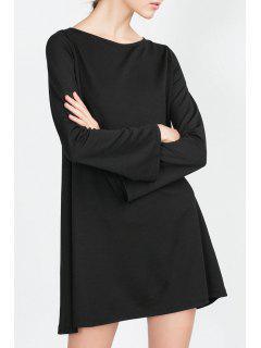 Long Bell Sleeve Solid Color Dress - Black S