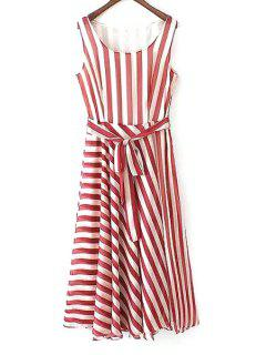 Red Striped Scoop Neck Sundress - Red With White S