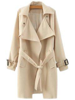 Lapel Belted Solid Color Coat - Khaki M