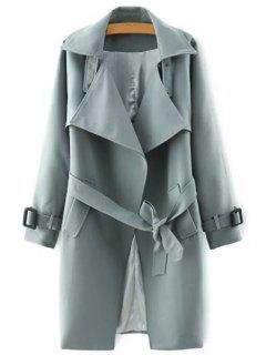Lapel Belted Solid Color Coat - Gray S