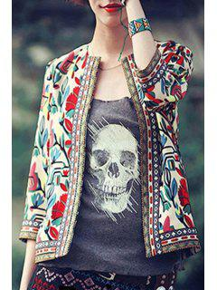 Colorful Floral Print 3/4 Sleeve Coat - Off-white Xl