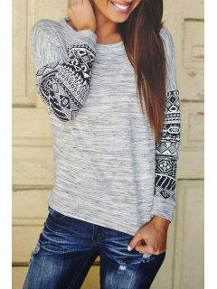 Tribal Pattern Scoop Neck Long Sleeve T-Shirt - Gray S