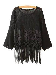 Crochet Flower Tassels Sweater - Black
