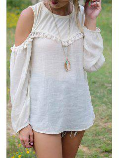 White Tassel Splicing Long Sleeve T-Shirt - White M