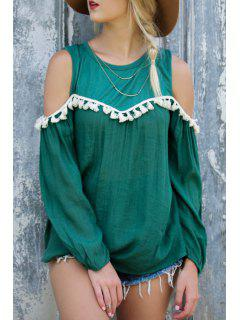 White Tassel Splicing Long Sleeve T-Shirt - Green L