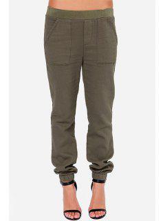 Pure Color Elastic Waist Pants - Brown M