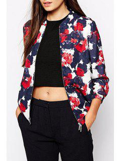 Floral Stand Neck Long Sleeve Baseball Jacket - M