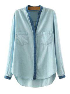High Low Denim Splicing Long Sleeve Shirt - Light Blue M