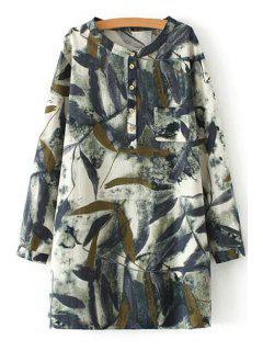 Green Leaves Print Long Sleeve Shirt - Off-white 2xl