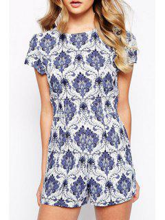White And Blue Porcelain Playsuit - S