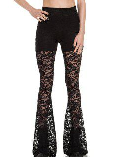 Openwork Lace Hook Flare Pants - Black L