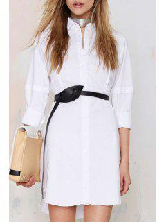 Shirt Collar Long Sleeve White Dress - White S