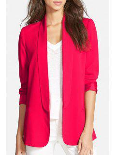Shawl Neck Solid Color Blazer - Red 2xl