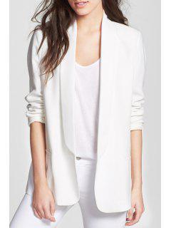 Shawl Neck Solid Color Blazer - White Xl