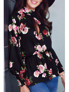 Long Sleeve Floral Hollow Back Blouse - Black 2xl