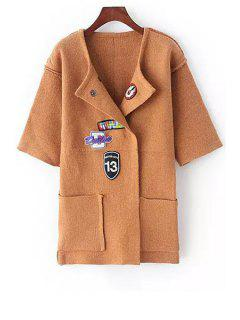 Turn-Down Collar Applique Embellished Cardigan - Khaki