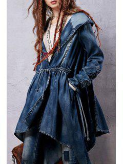 Denim Hooded Long Sleeve Coat - Blue L