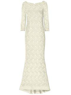 Openwork Lack Hook Fishtail Dress - Off-white Xl