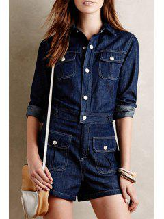 Long Sleeve Single-Breasted Denim Playsuit - Cadetblue M