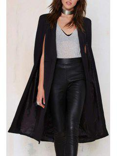 Solid Color Long Cape Blazer - Black Xl