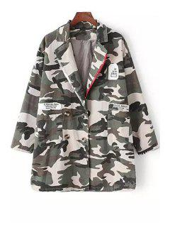 Camouflage Print Double-Breasted Long Sleeve Coat - Camouflage L