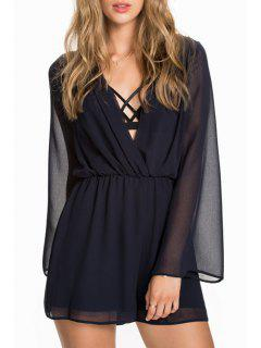 Deep V Neck See-Through Chiffon Romper - Black 2xl