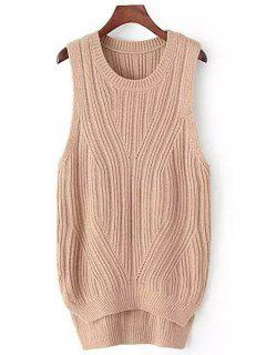 High Low Solid Color Sleeveless Sweater - Khaki