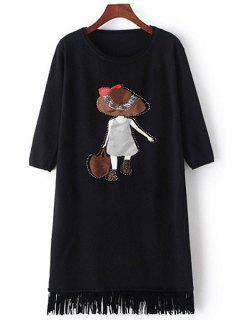 Scoop Neck Girl Applique Long Sleeve Dress - Black
