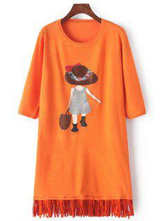 Scoop Neck Girl Applique Long Sleeve Dress - Orange
