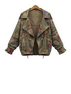 Lapel Loose-Fitting Camouflage Coat - Green 3xl