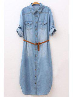 Rolled Sleeve Single-Breasted Denim Dress With Belt - Light Blue S