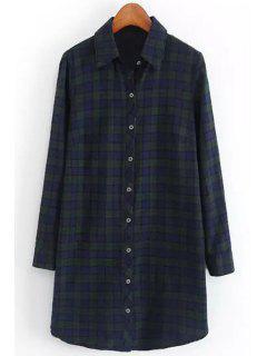 Polo Color Hit Color Plaid Long Sleeve Shirt - Blackish Green L