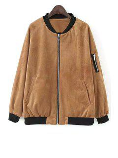 Color Block Zipper Stand Neck Jacket - Khaki L