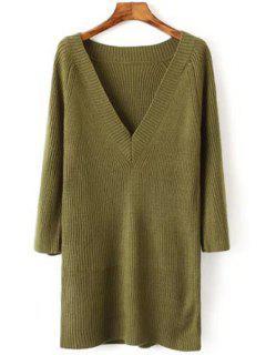 V Neck Solid Color Long Sleeve Dress - Green