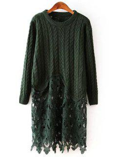 Cable Knit Lace Spliced Sweater Dress - Green