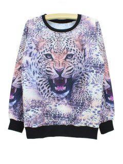 Tiger Head Print Sweatshirt - Xl