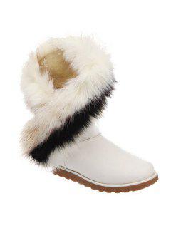Color Block Faux Fur Snow Boots - White 39