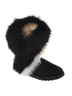 Color Block Faux Fur Snow Boots - Black 38