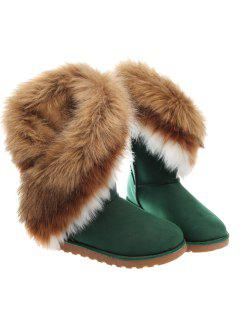 Color Block Faux Fur Snow Boots - Green 39
