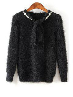 Solid Color Self Tie Long Sleeve Pullover Sweater - Black