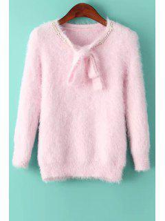 Einfarbiger Strickpullover Mit Langer Hülse Und Selbstbindung  - Pink