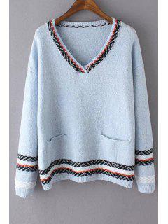 Pullover Mit V-Ausschnitt Und Zwei Taschen  - Azurblau