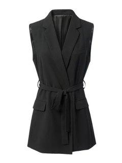 Black Stylish Lapel Collar Women's Waistcoat - Black L