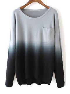 Round Neck Ombre Color Sweater - Black