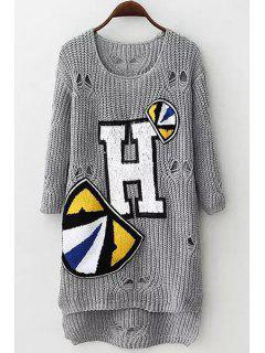 Letter Applique Hole Long Sleeve Sweater - Gray