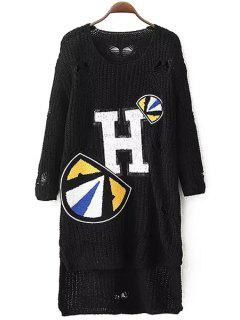 Letter Applique Hole Long Sleeve Sweater - Black
