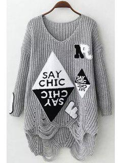 V Neck Letter Applique Hole Sweater - Gray