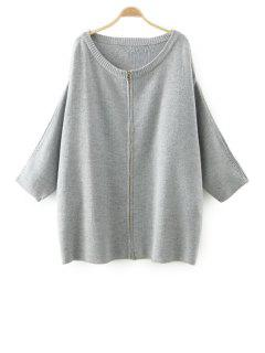 Solid Color Zipper Fly Long Sleeve Cardigan - Gray